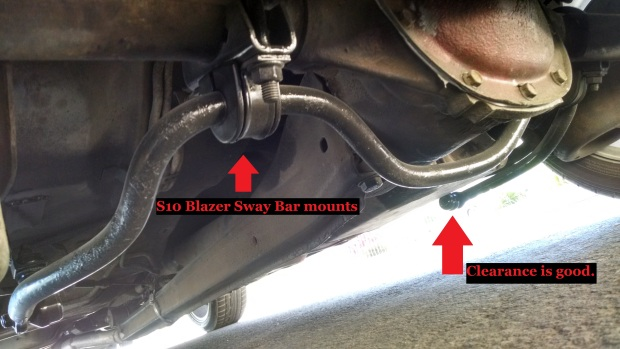 Better look at mounts + sway bar clearance.